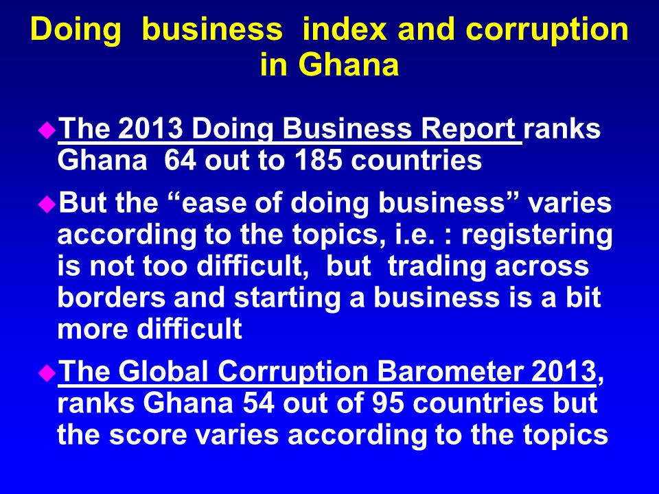 Doing business index and corruption in Ghana