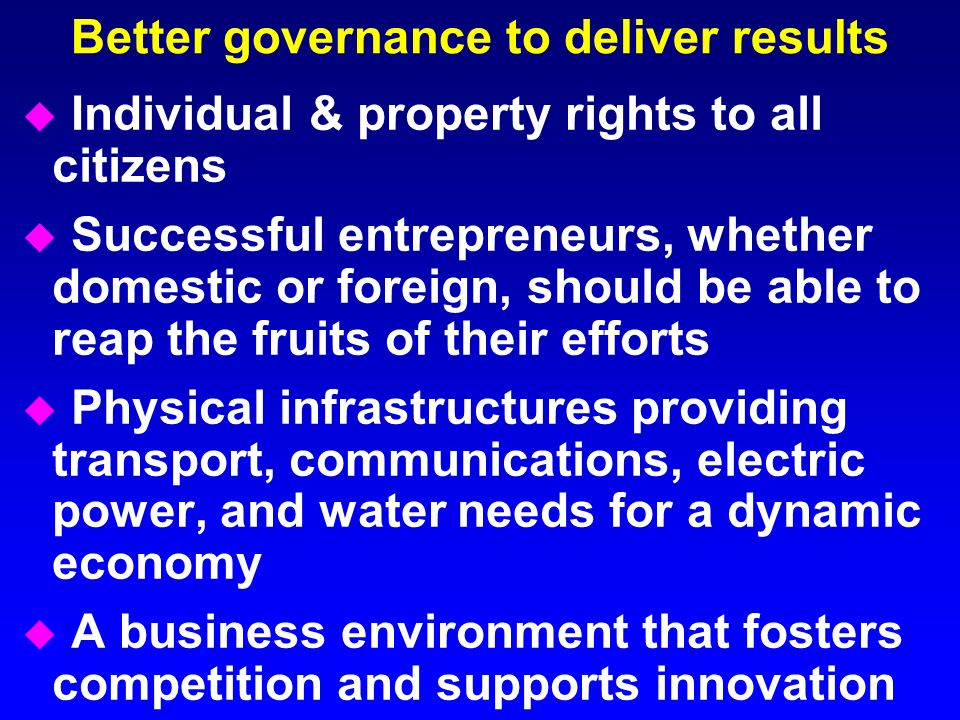 Better governance to deliver results