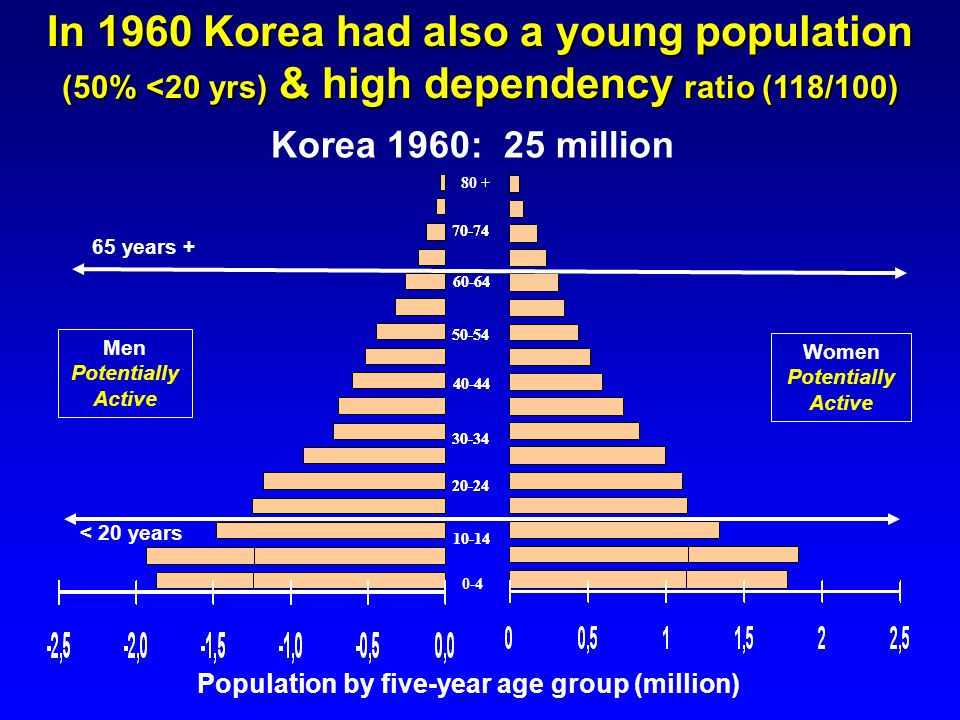 In 1960 Korea had also a young population (50% <20 yrs) & high dependency ratio (118/100)