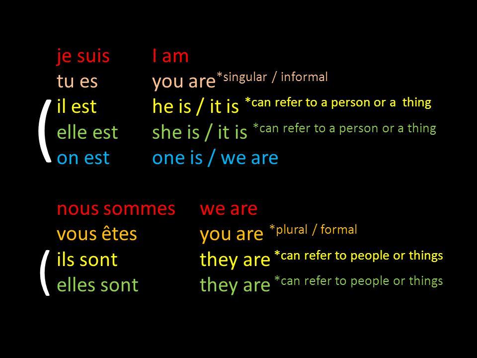 ( je suis I am tu es you are*singular / informal