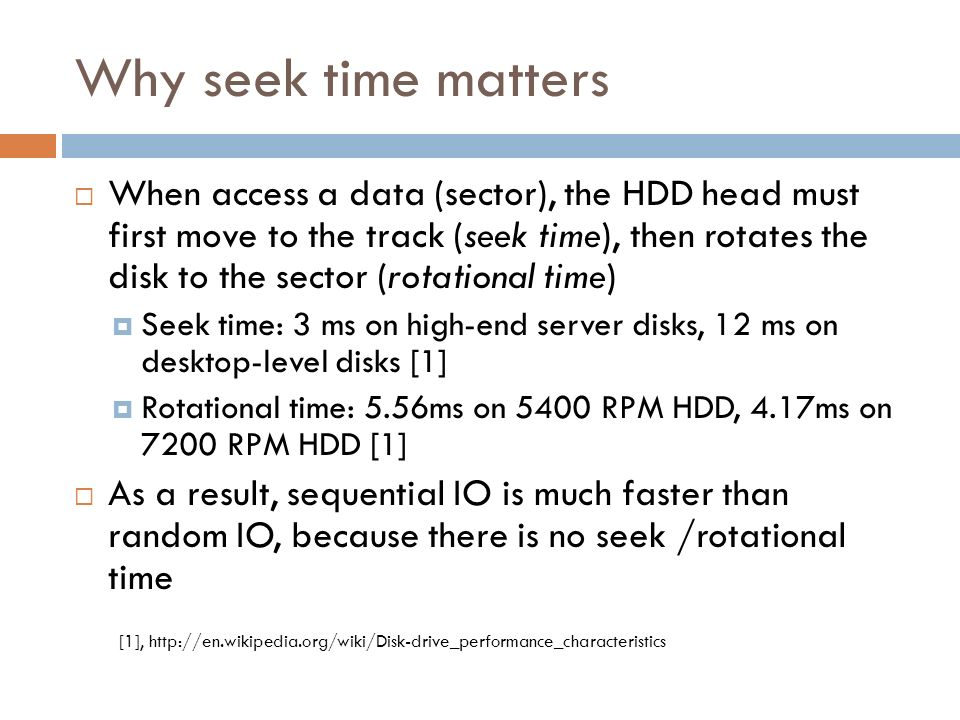 Why seek time matters