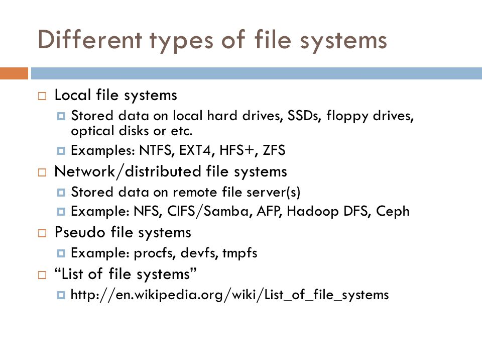 Different types of file systems