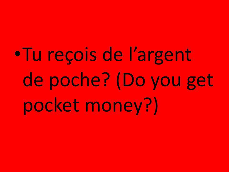 Tu reçois de l'argent de poche (Do you get pocket money )