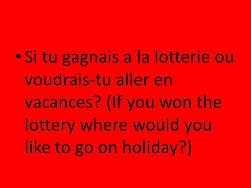 Si tu gagnais a la lotterie ou voudrais-tu aller en vacances