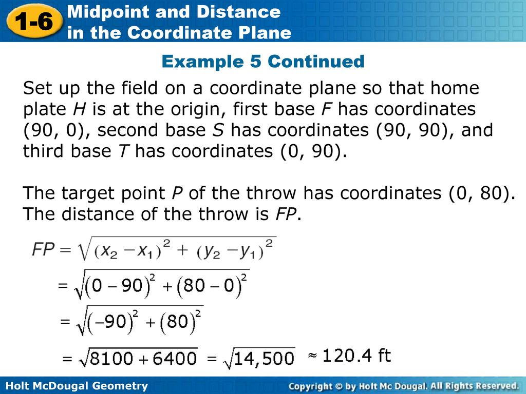 1-6 Midpoint and Distance in the Coordinate Plane Warm Up - ppt download