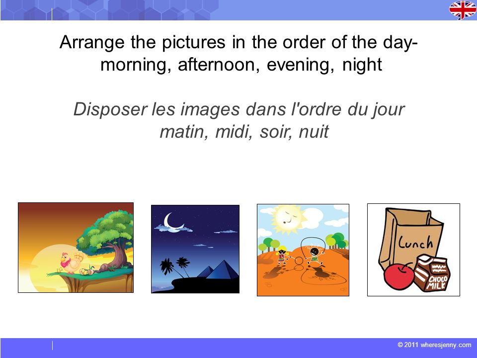 Arrange the pictures in the order of the day-