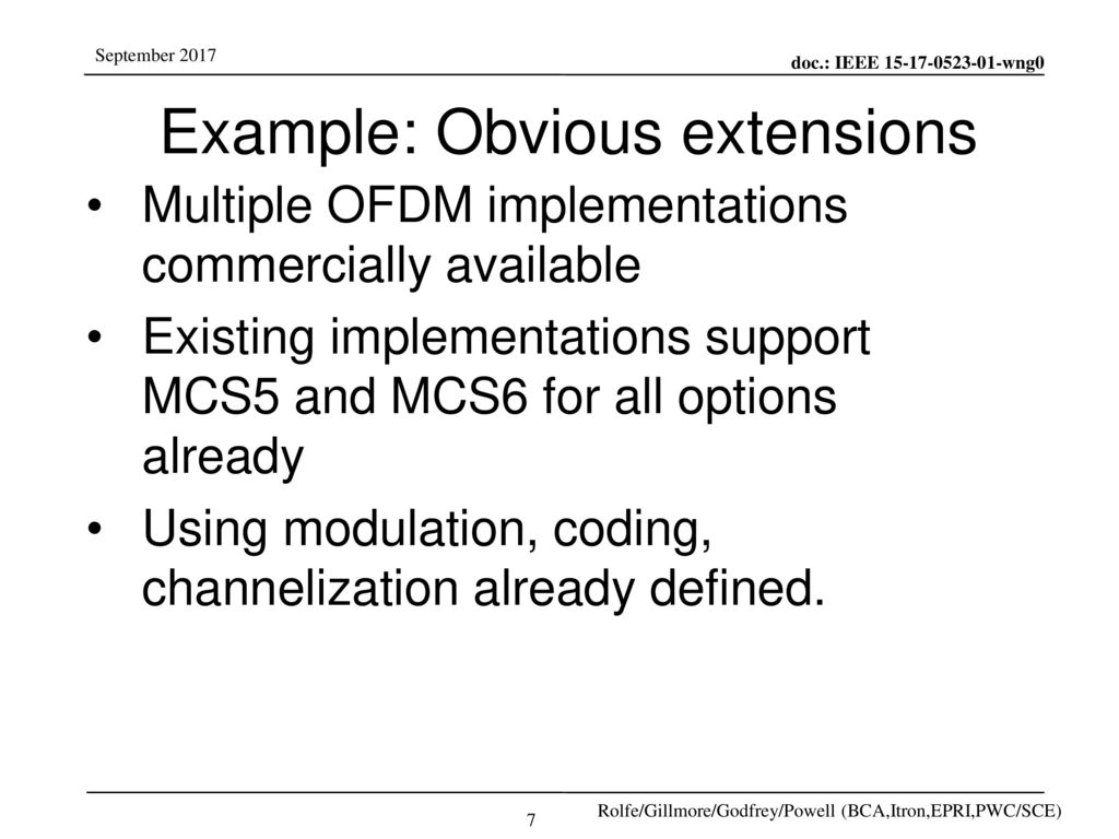 Example: Obvious extensions