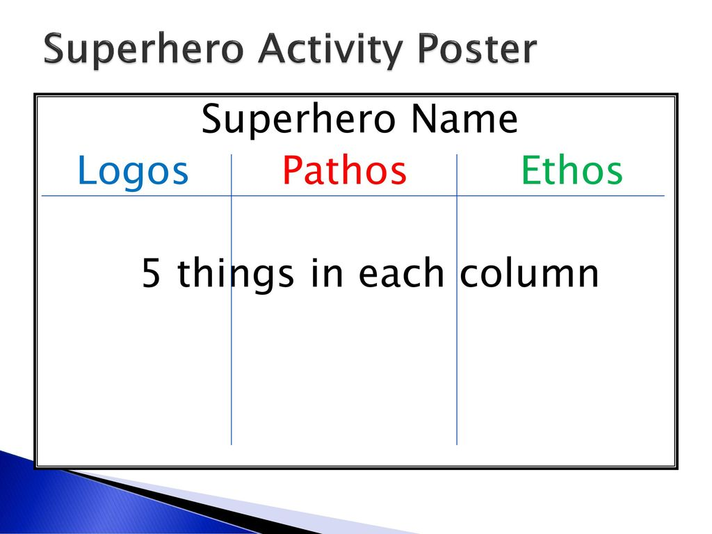 Superhero Activity Poster