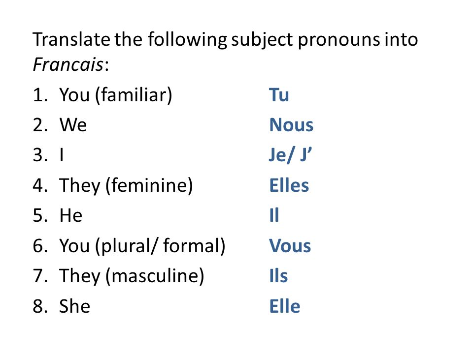 Translate the following subject pronouns into Francais: