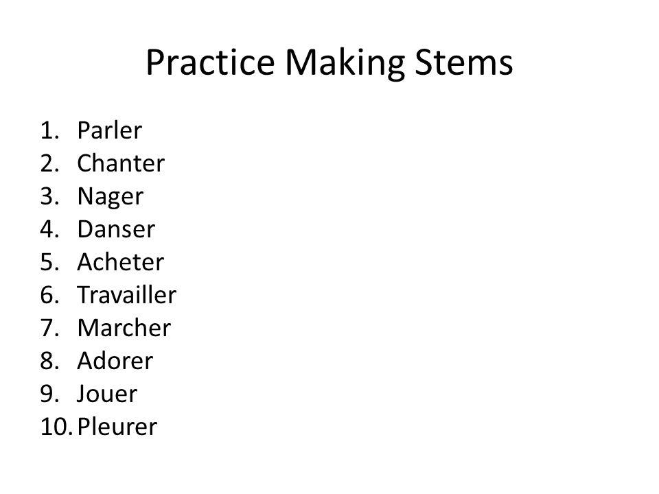 Practice Making Stems Parler Chanter Nager Danser Acheter Travailler