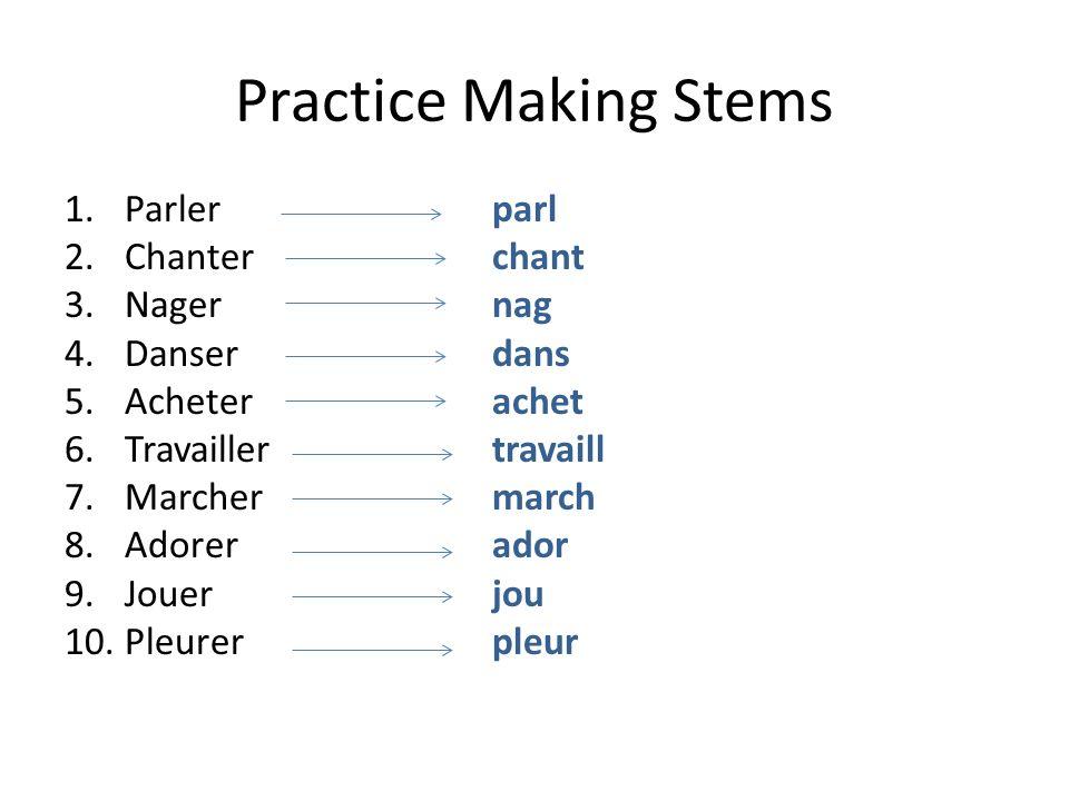 Practice Making Stems Parler parl Chanter chant Nager nag Danser dans