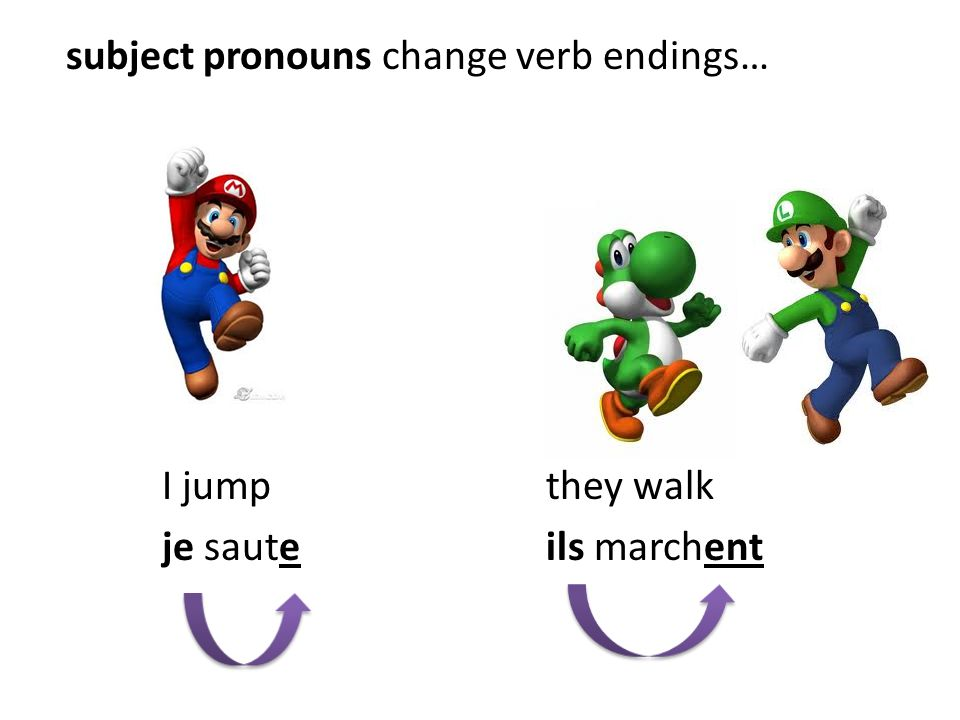 subject pronouns change verb endings… I jump they walk je saute ils marchent