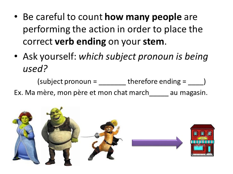 Ask yourself: which subject pronoun is being used