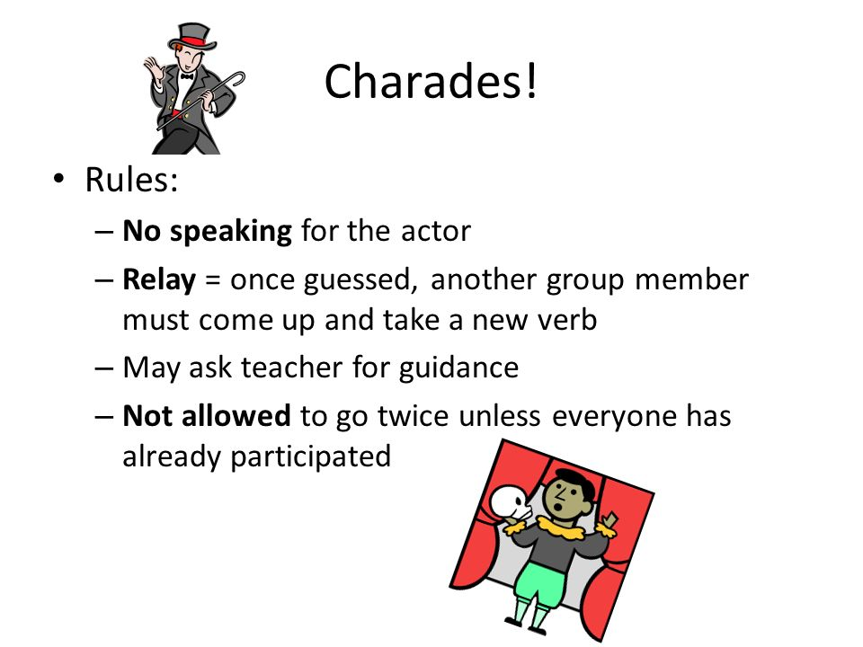 Charades! Rules: No speaking for the actor