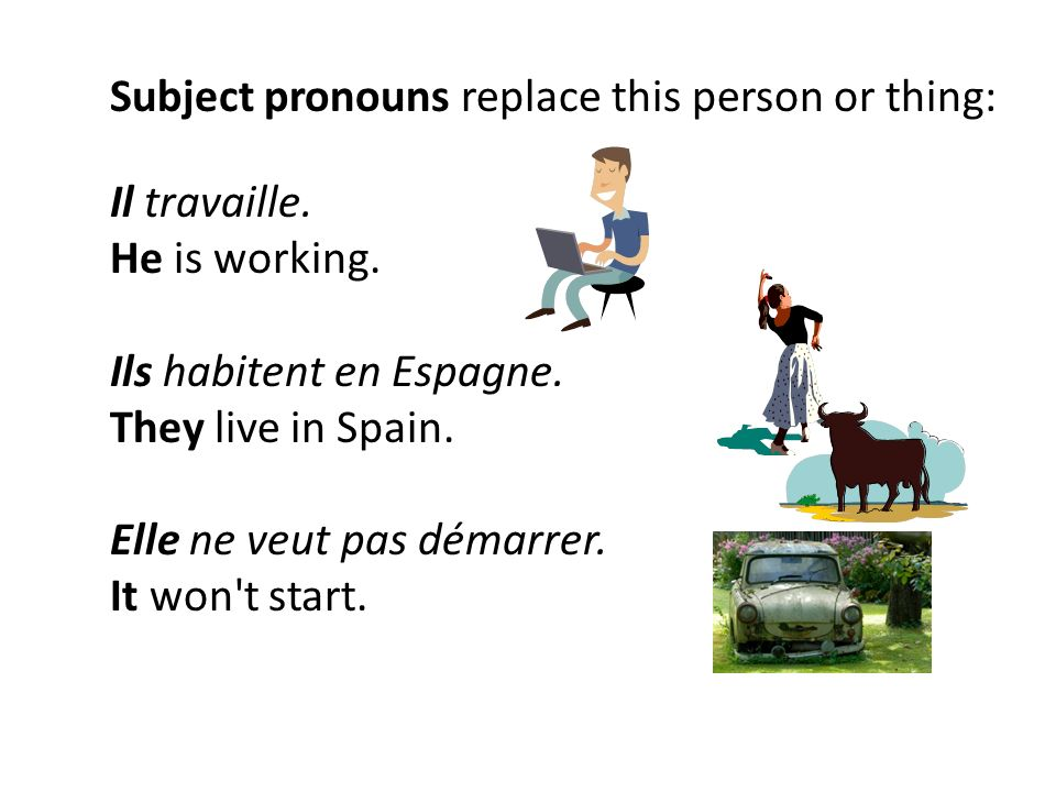 Subject pronouns replace this person or thing: Il travaille