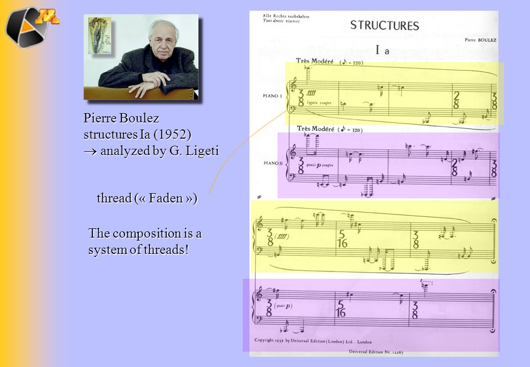 thread (« Faden ») Pierre Boulez structures Ia (1952)  analyzed by G.