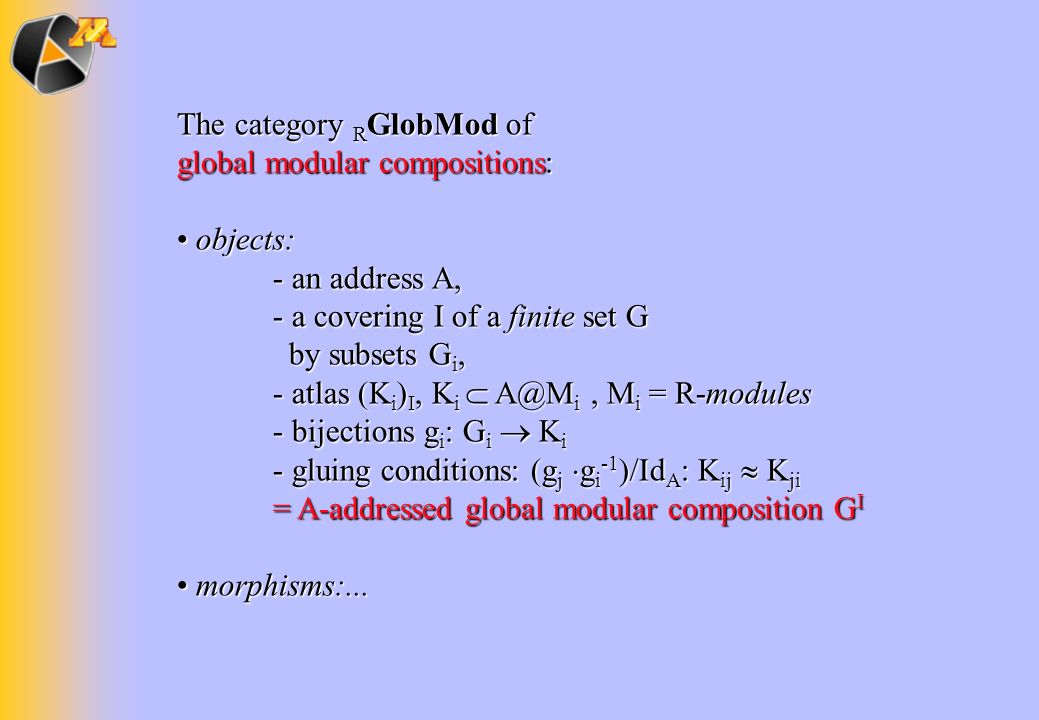 The category RGlobMod of global modular compositions: