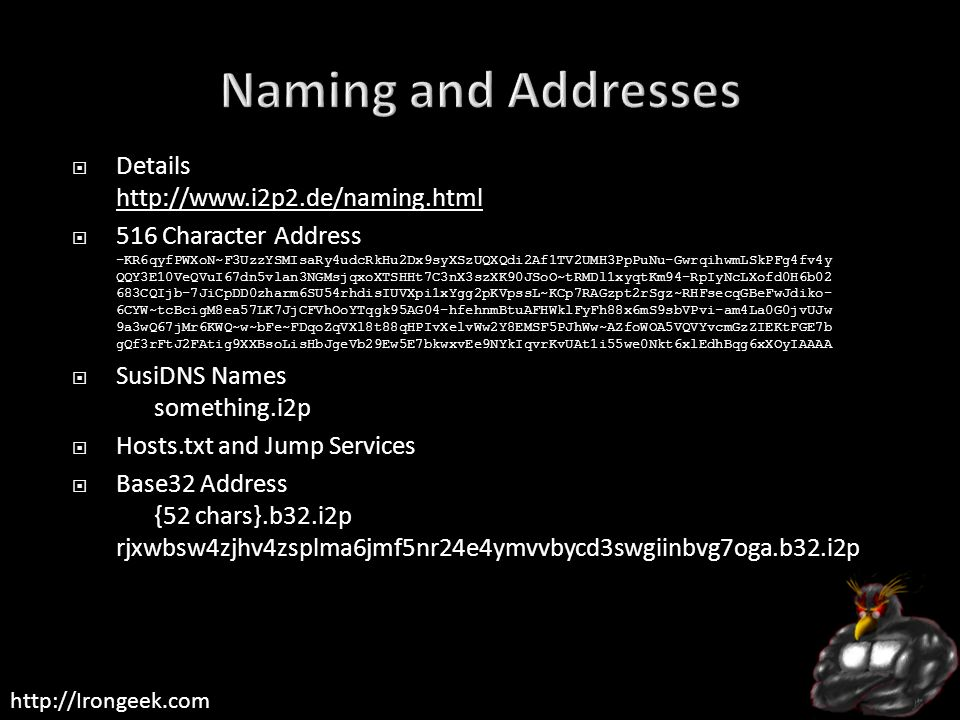 Naming and Addresses Details http://www.i2p2.de/naming.html