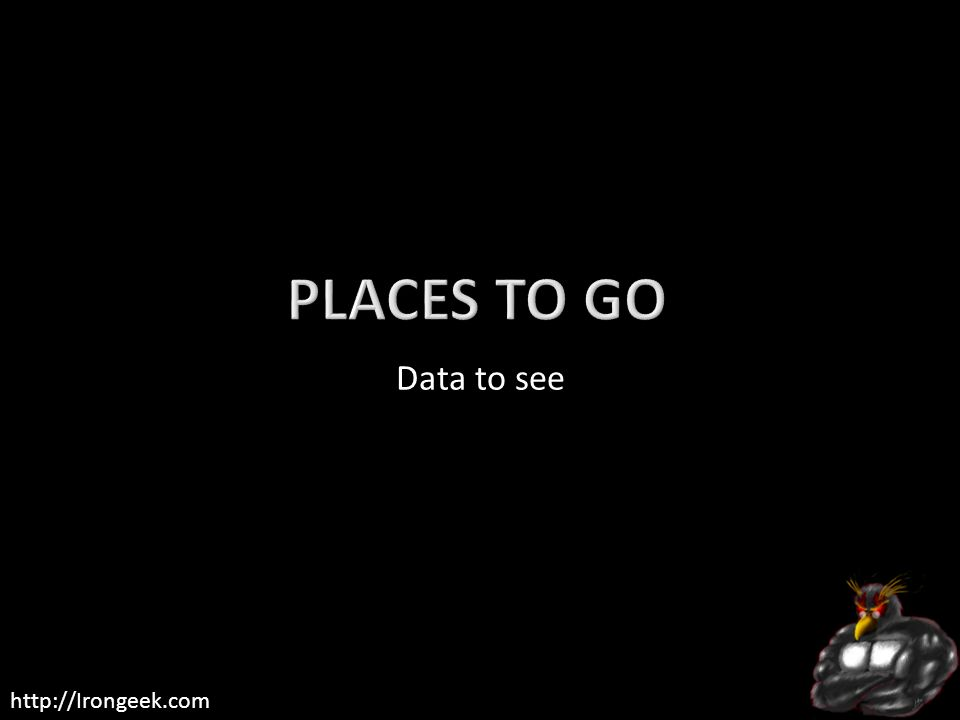 Places to go Data to see