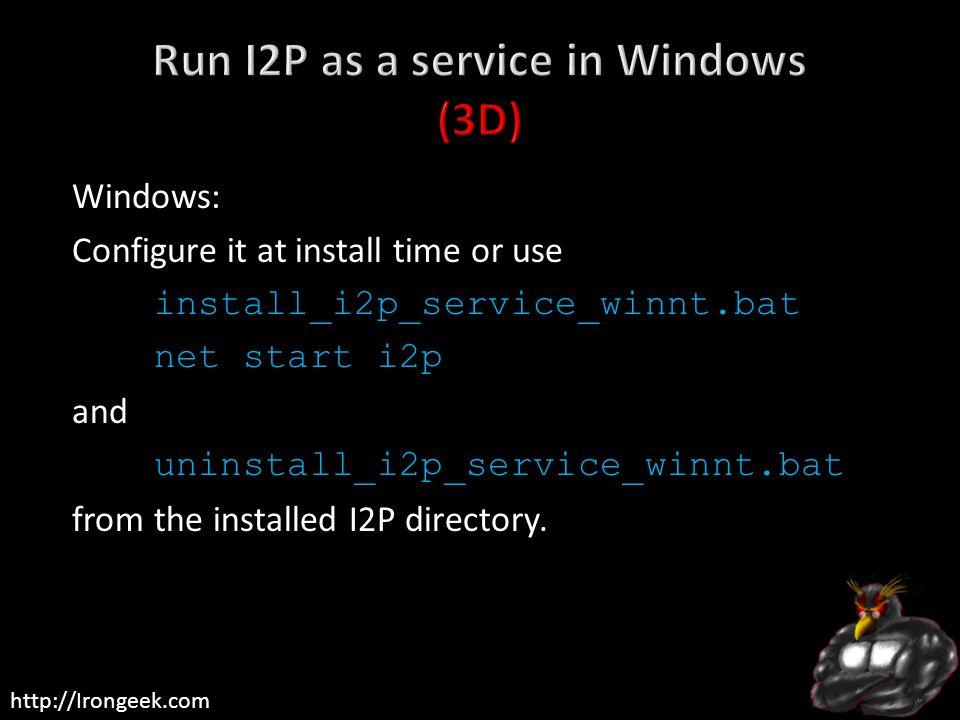 Run I2P as a service in Windows (3D)