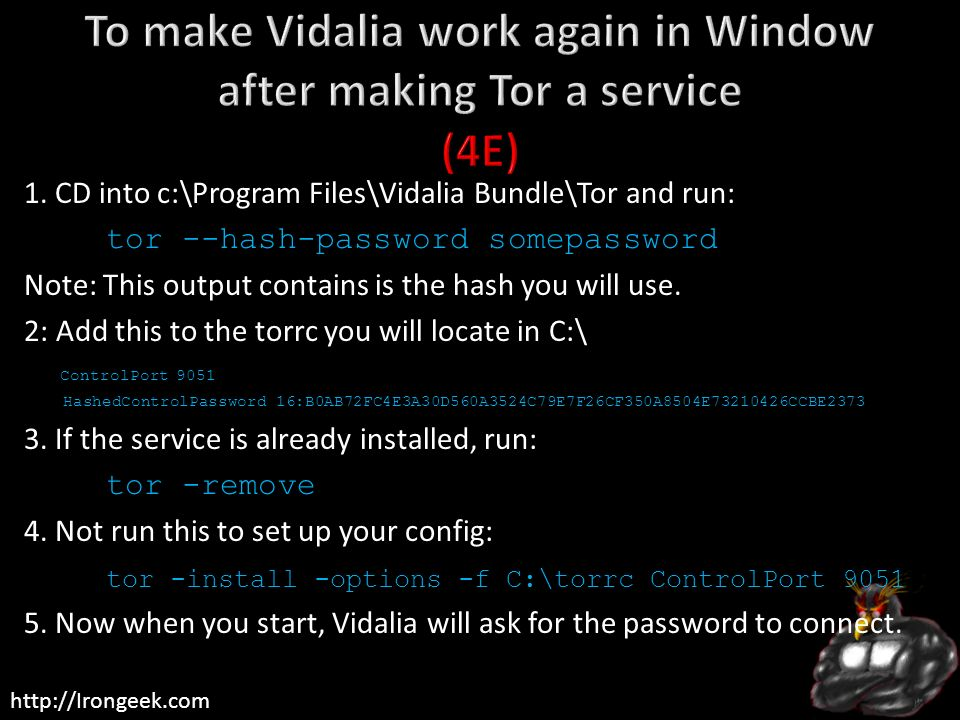 To make Vidalia work again in Window after making Tor a service (4E)