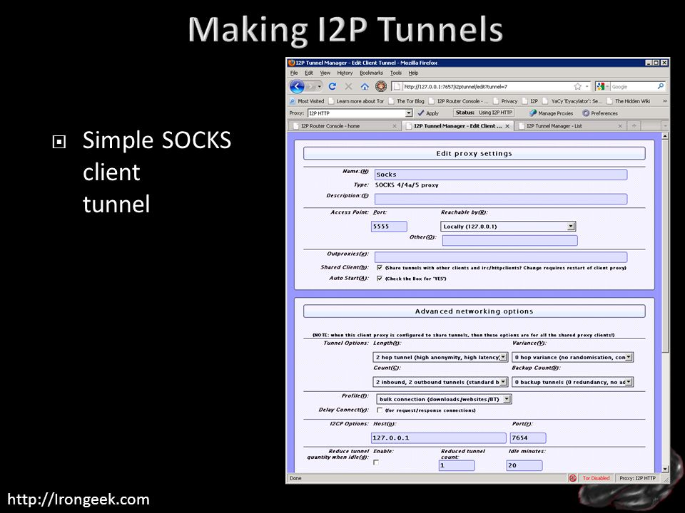 Making I2P Tunnels Simple SOCKS client tunnel