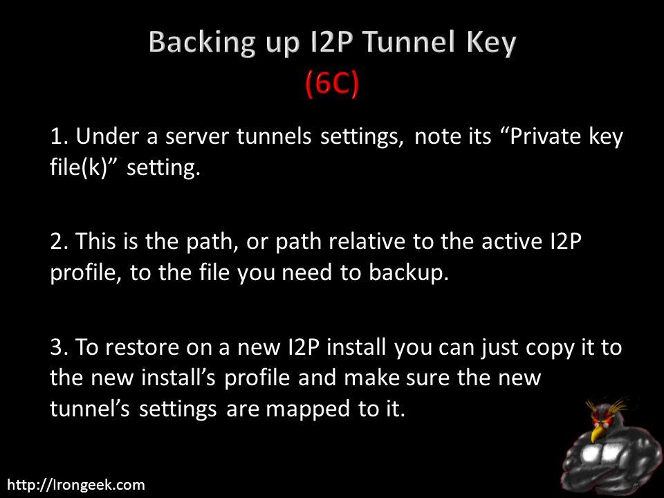 Backing up I2P Tunnel Key (6C)