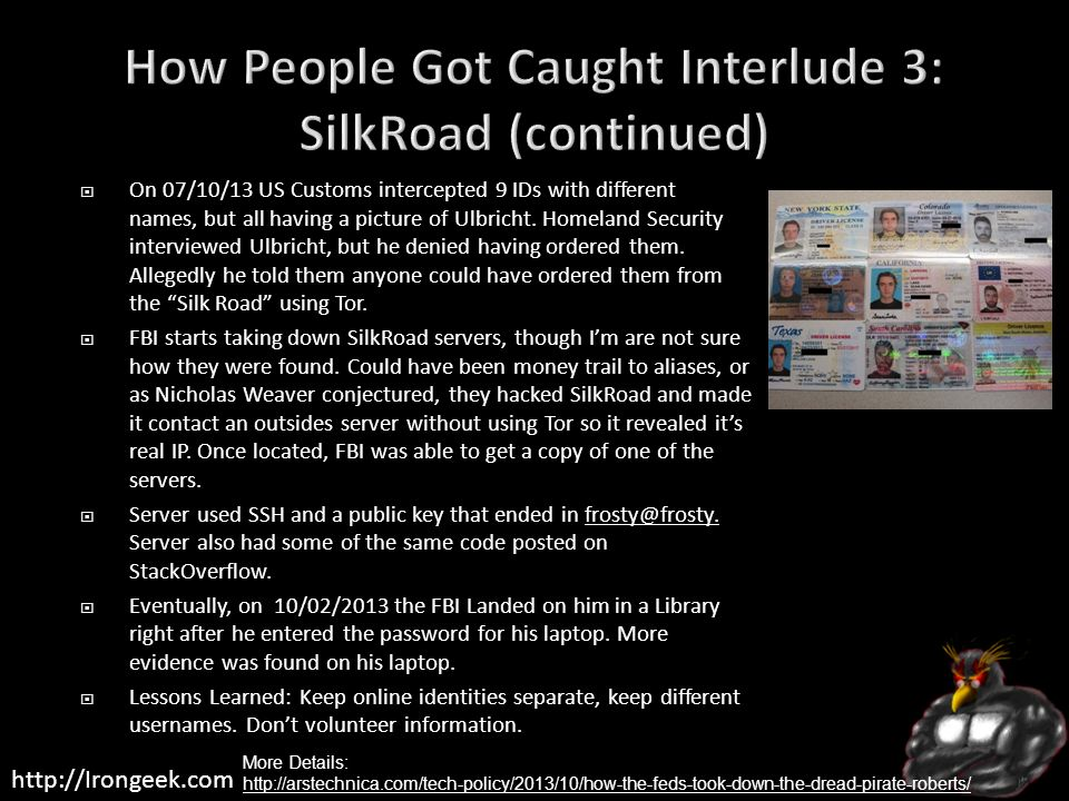 How People Got Caught Interlude 3: SilkRoad (continued)