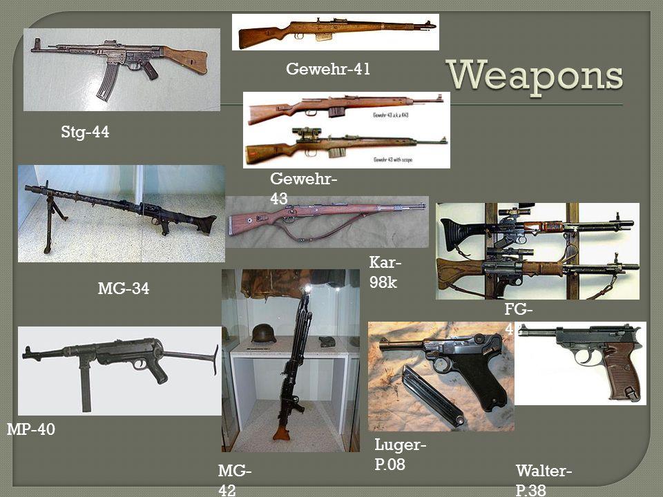 Weapons Gewehr-41 Stg-44 Gewehr-43 Kar-98k MG-34 FG-42 MP-40