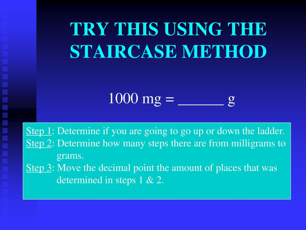 TRY THIS USING THE STAIRCASE METHOD