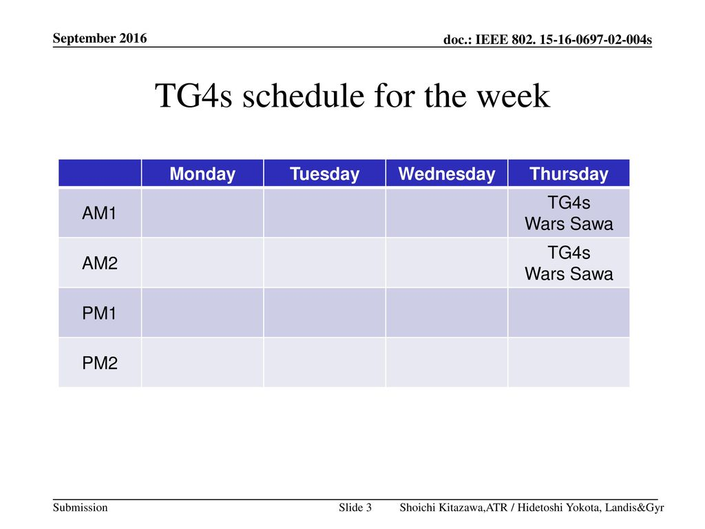TG4s schedule for the week