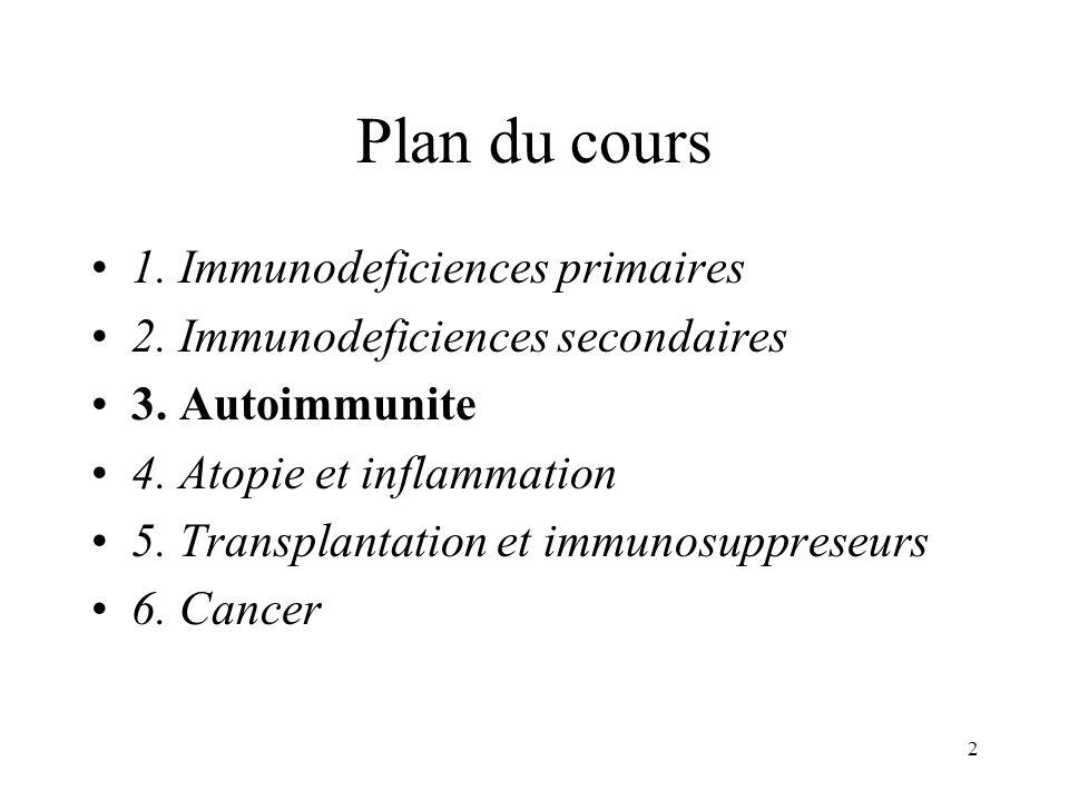 Plan du cours 1. Immunodeficiences primaires