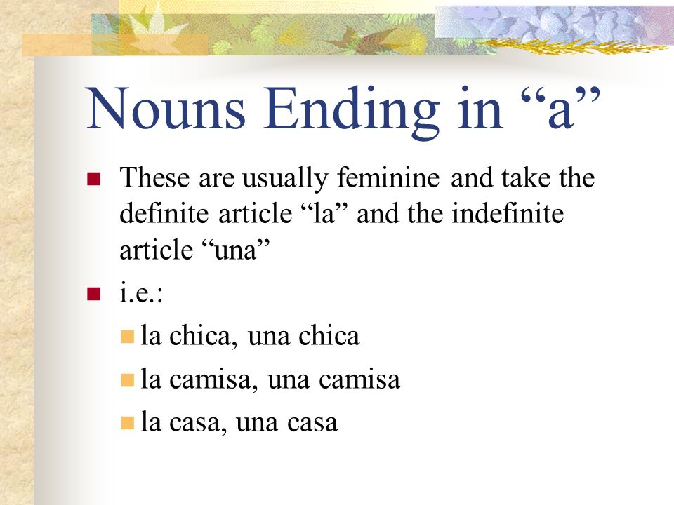 Nouns Ending in a These are usually feminine and take the definite article la and the indefinite article una