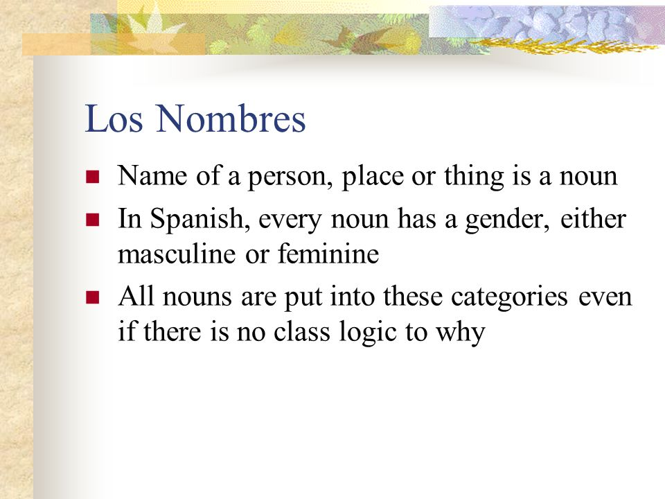 Los Nombres Name of a person, place or thing is a noun