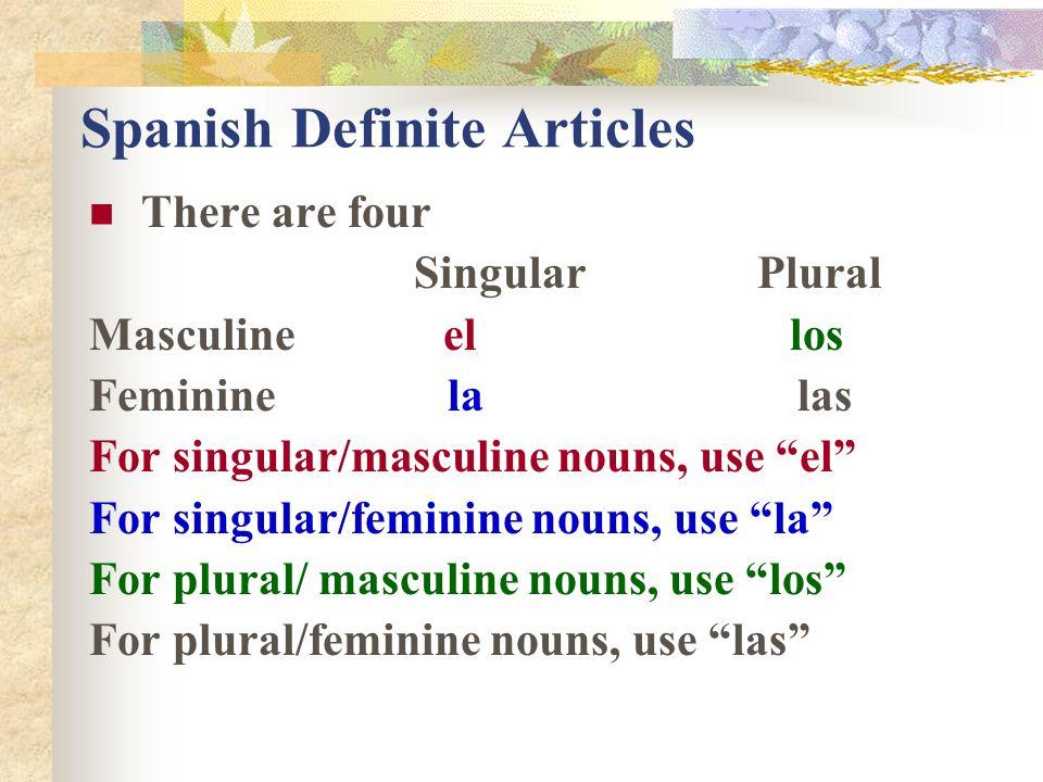 the singular definite article in spanish