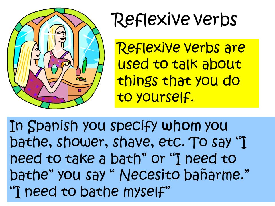 Reflexive verbs Reflexive verbs are used to talk about things that you do to yourself.