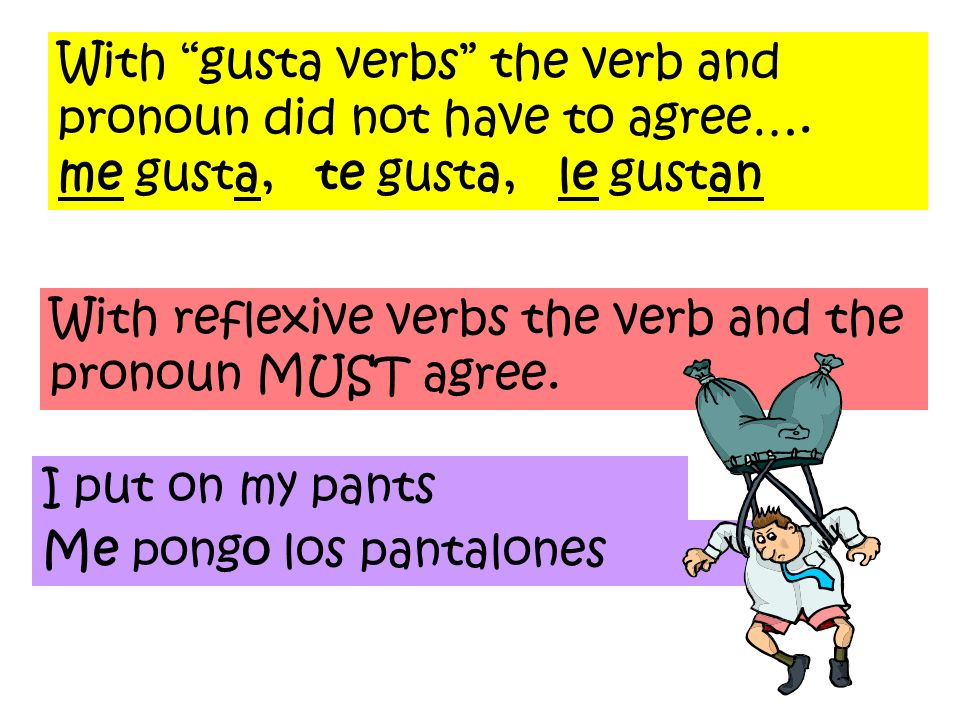 With gusta verbs the verb and pronoun did not have to agree…