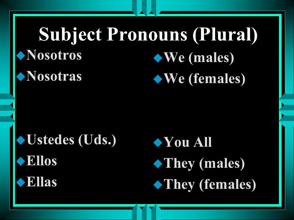 Subject Pronouns (Plural)