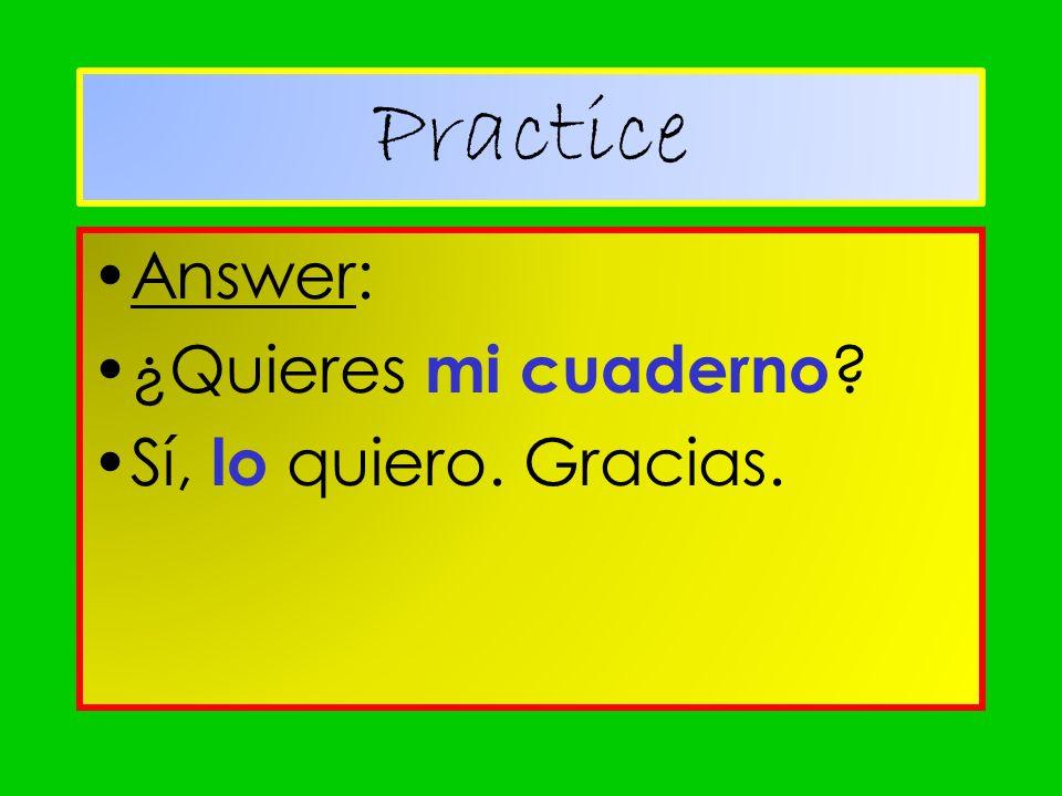 Practice Answer: ¿Quieres mi cuaderno Sí, lo quiero. Gracias.