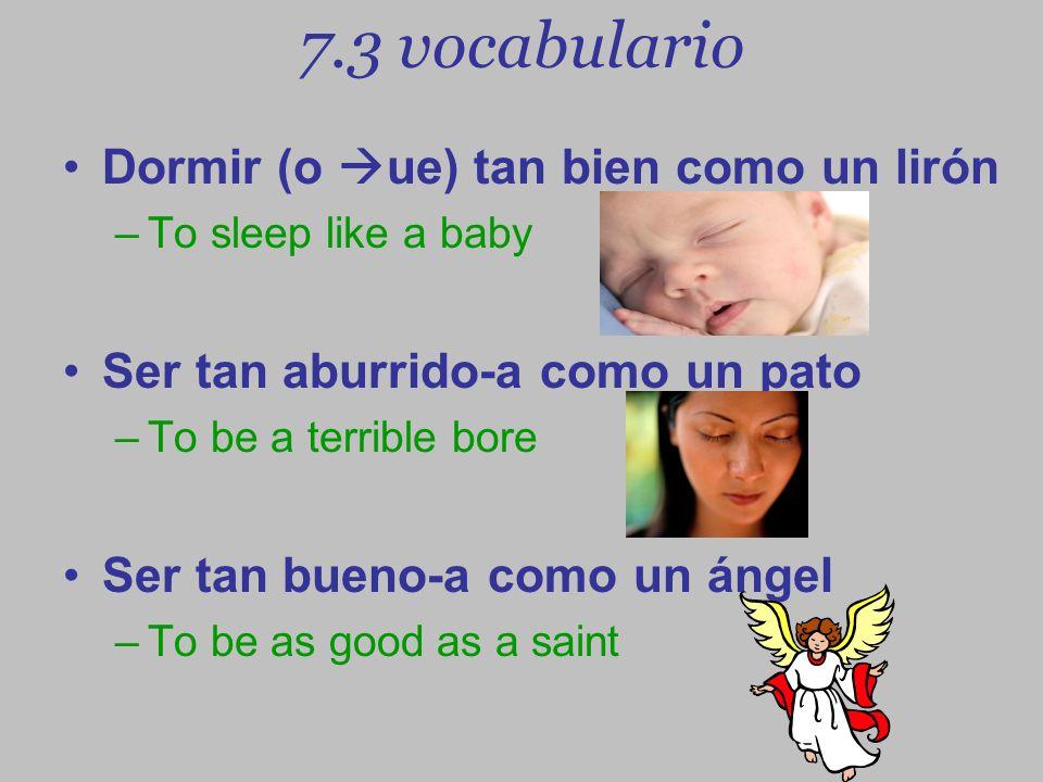 7.3 vocabulario Dormir (o ue) tan bien como un lirón