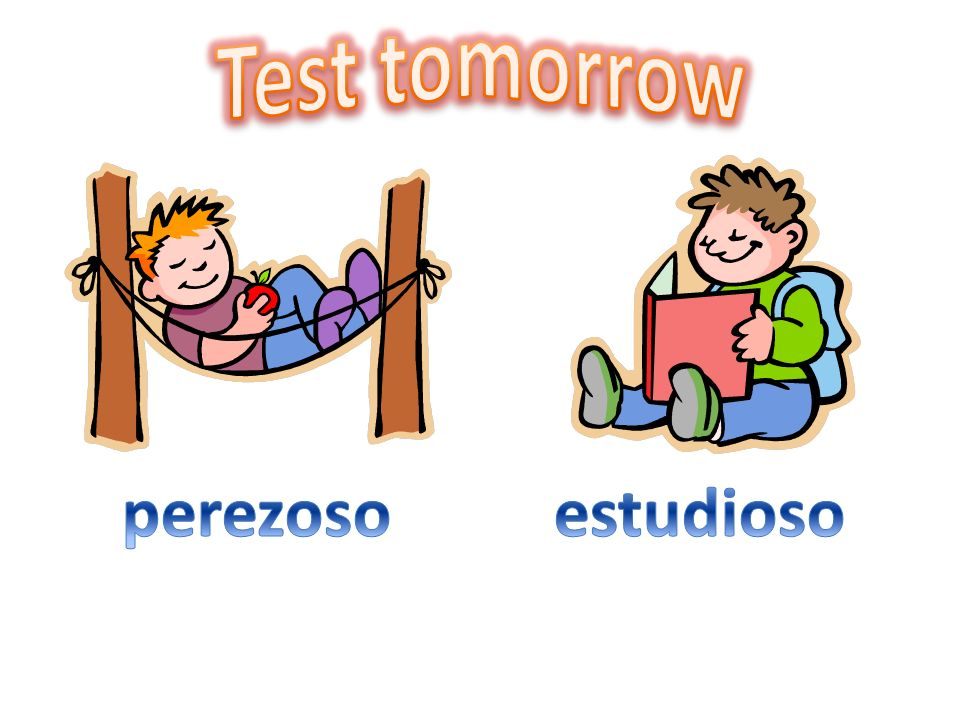 Test tomorrow perezoso estudioso