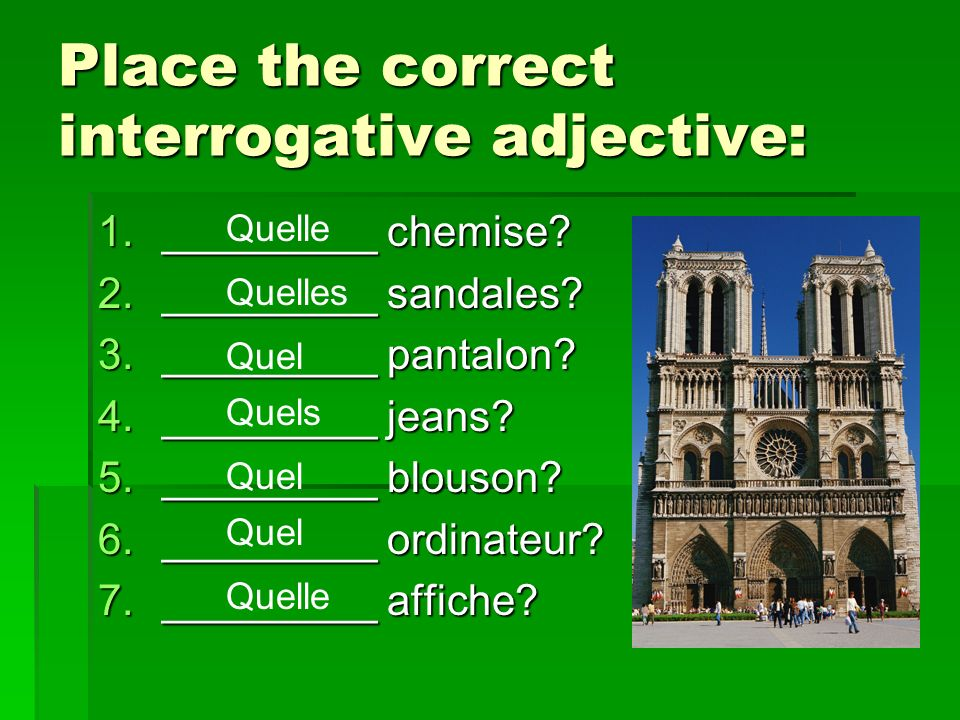 Place the correct interrogative adjective: