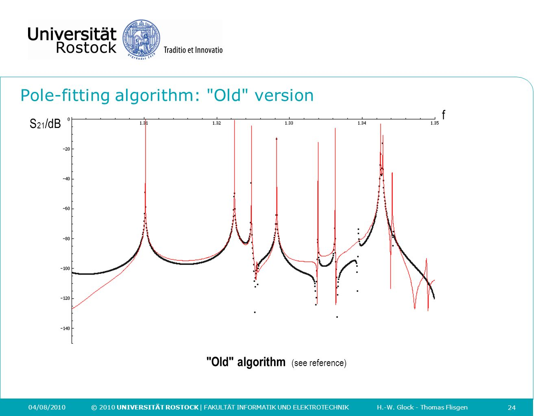 Pole-fitting algorithm: Old version