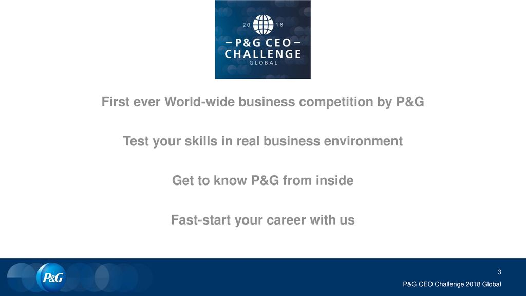 First ever World-wide business competition by P&G
