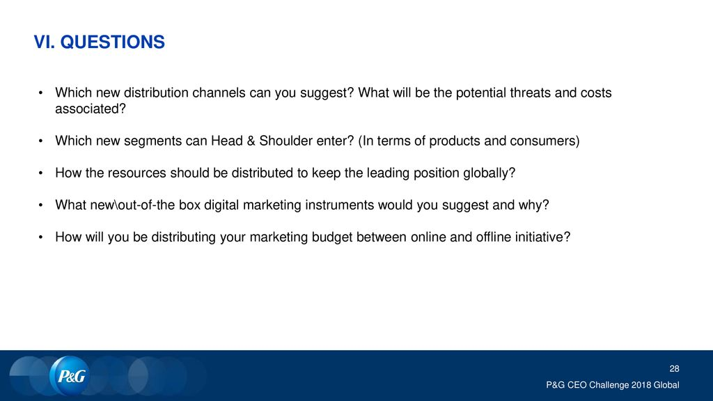 VI. QUESTIONS Which new distribution channels can you suggest What will be the potential threats and costs associated
