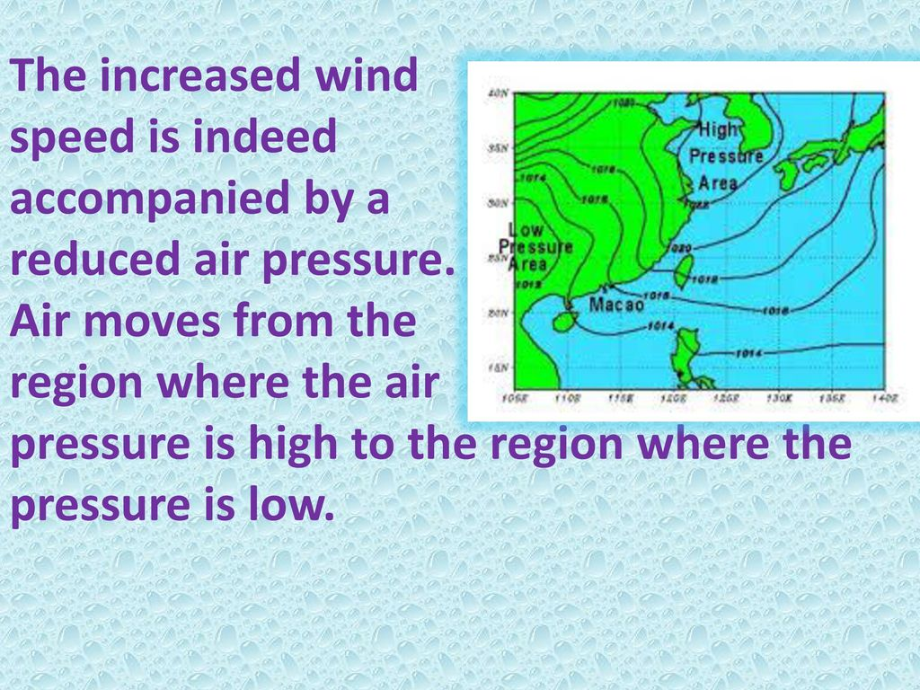 The increased wind speed is indeed accompanied by a reduced air pressure.