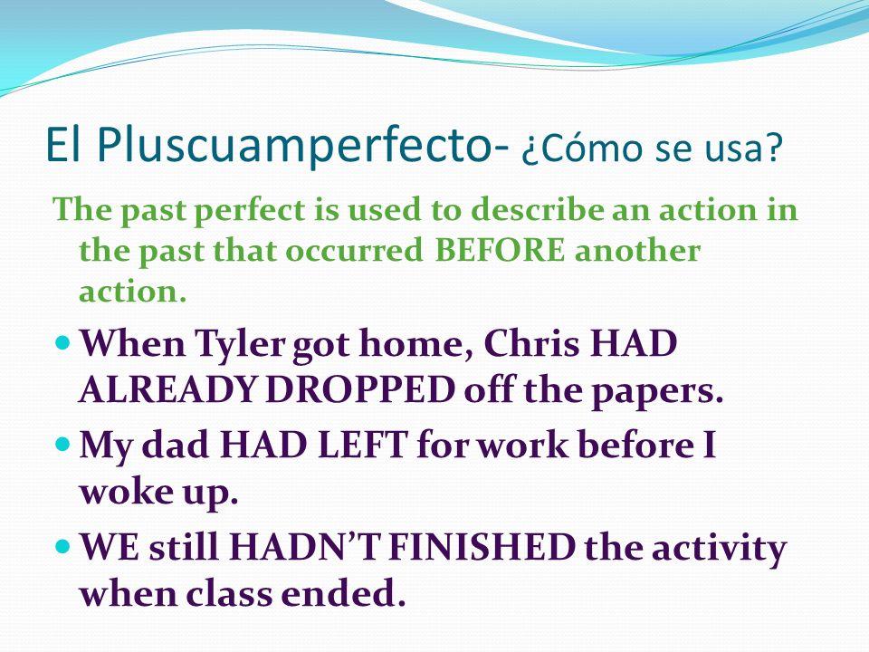 El Pluscuamperfecto- ¿Cómo se usa