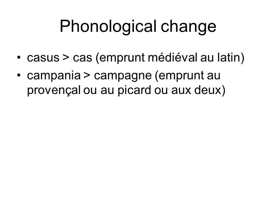 Phonological change casus > cas (emprunt médiéval au latin)
