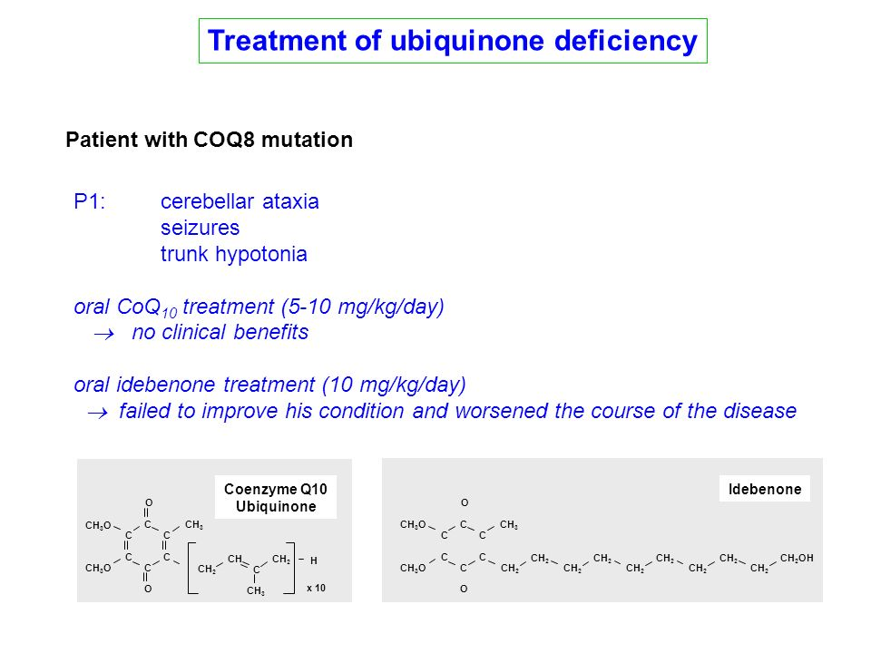 Treatment of ubiquinone deficiency