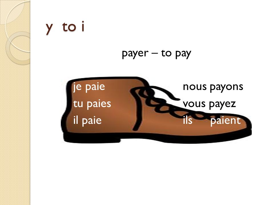 y to i payer – to pay je paie nous payons tu paies vous payez il paie ils paient